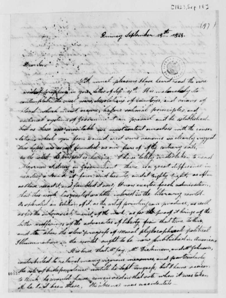 John Adams to Thomas Jefferson, September 18, 1823