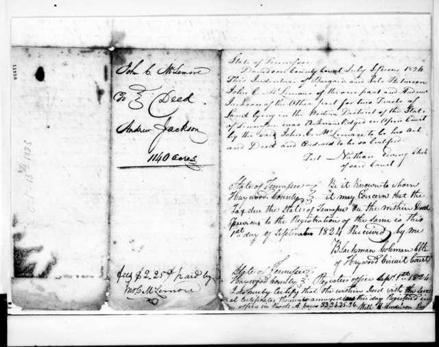 John Christmas McLemore to Andrew Jackson, October 13, 1823