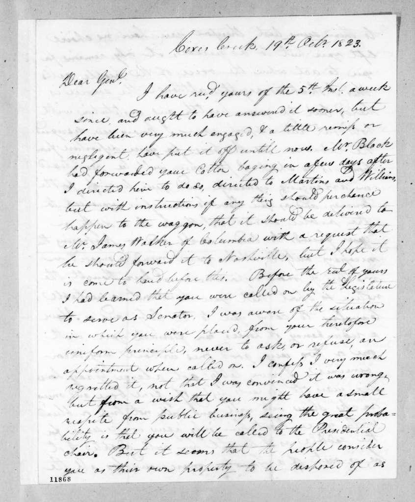 John Coffee to Andrew Jackson, October 19, 1823
