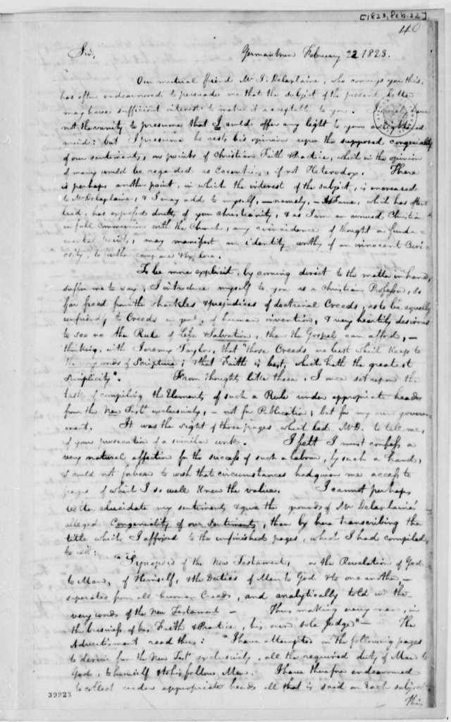 John F. Watson to Thomas Jefferson, February 22, 1823