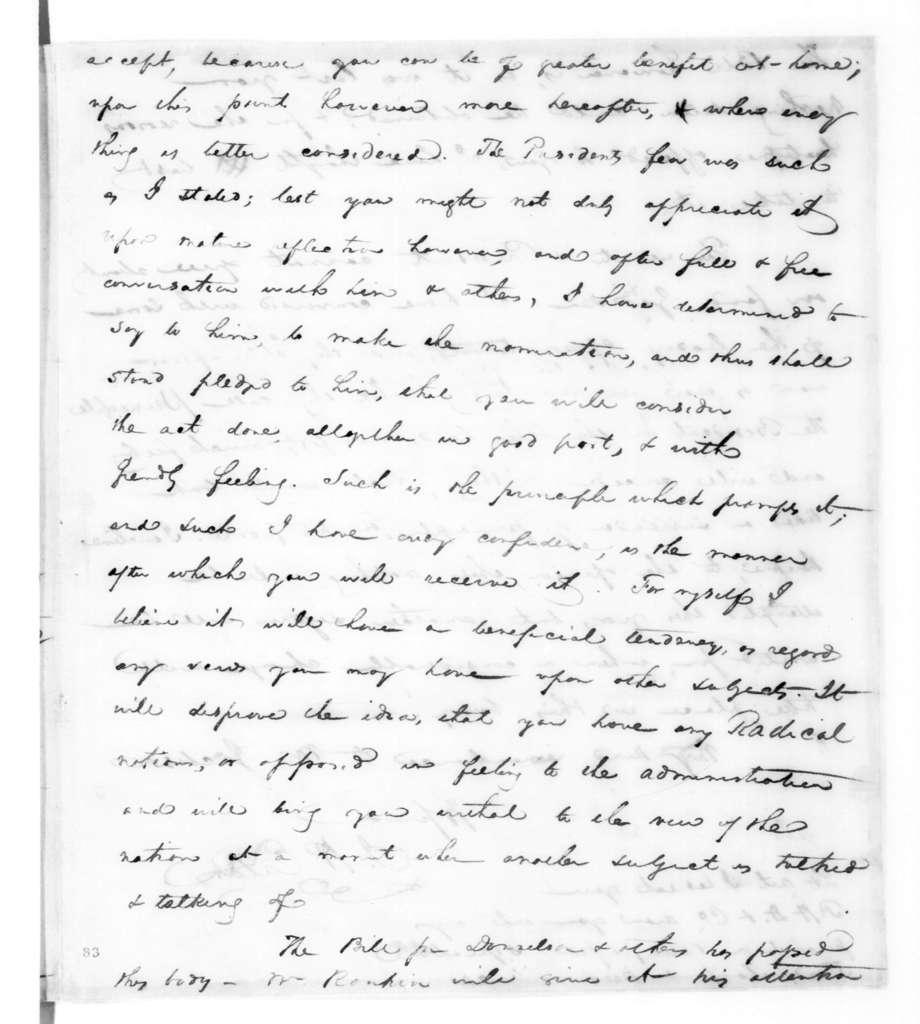 John Henry Eaton to Andrew Jackson, January 15, 1823