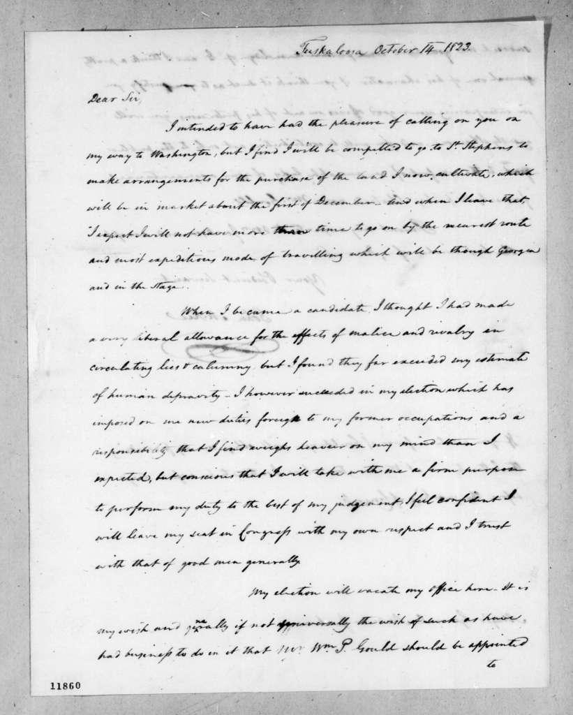 John McKee to Andrew Jackson, October 14, 1823