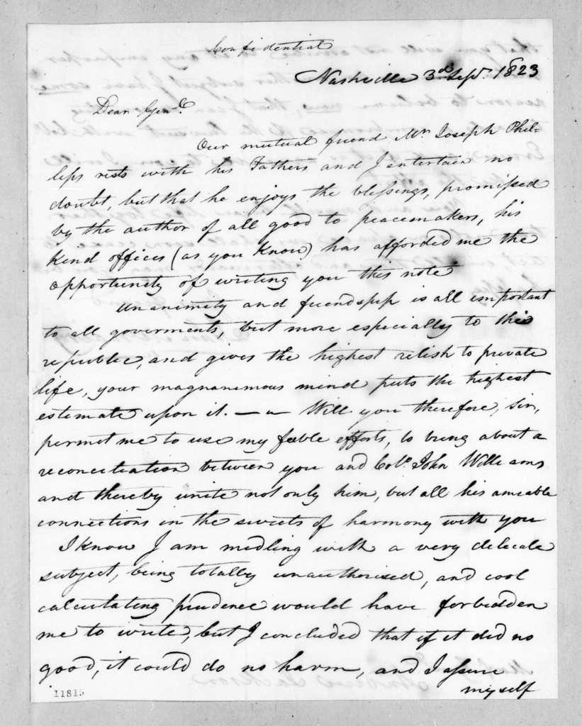 John McNairy to Andrew Jackson, September 3, 1823