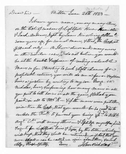 John Nicholas to James Madison, June 20, 1823.