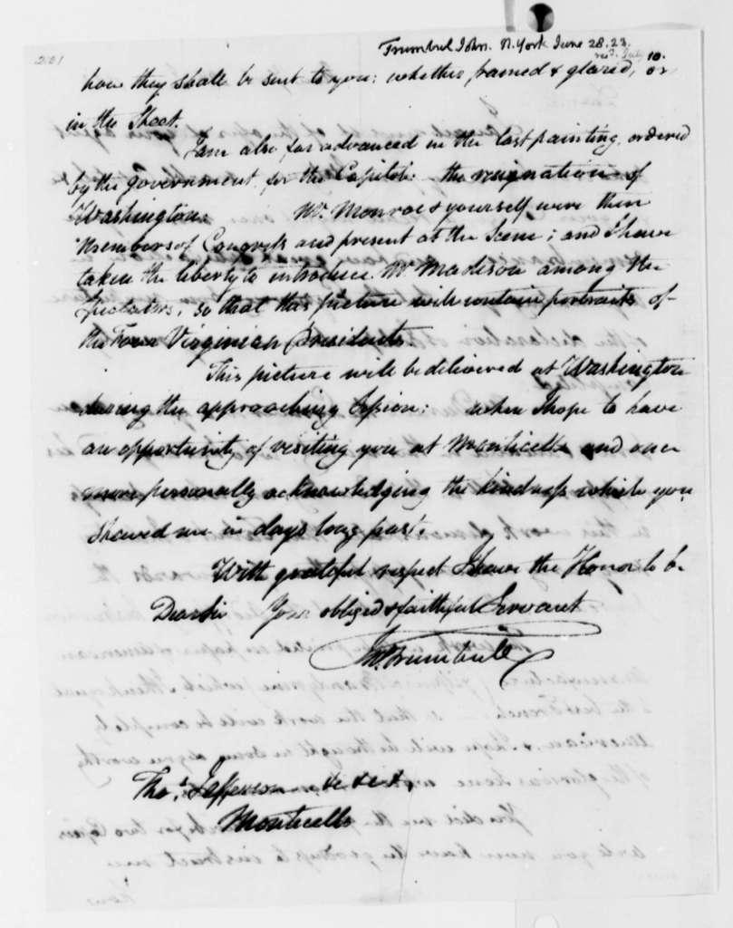 John Trumbull to Thomas Jefferson, June 28, 1823
