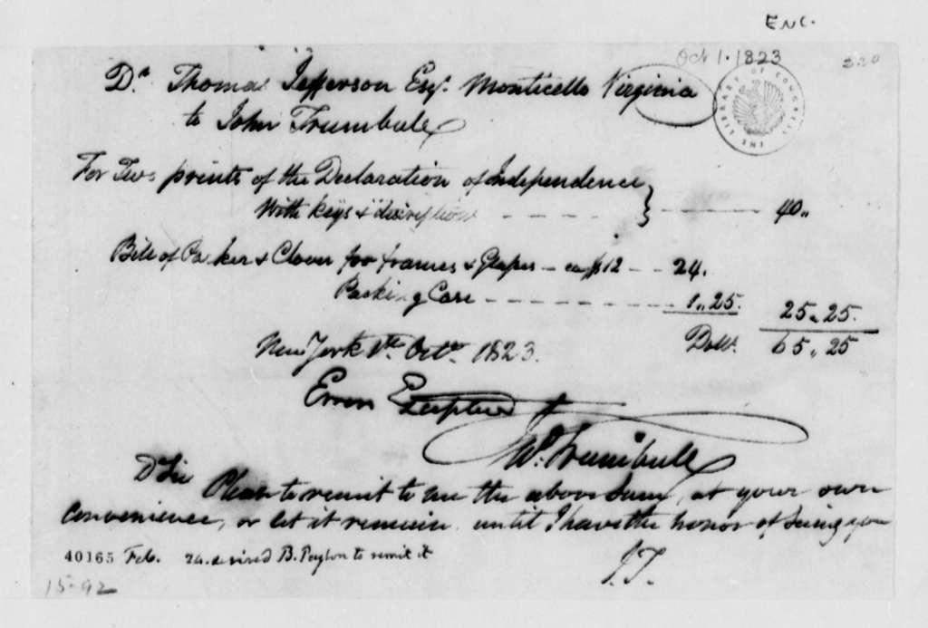 John Trumbull to Thomas Jefferson, October 1, 1823, with Bill