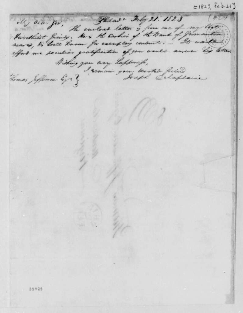 Joseph Delaplaine to Thomas Jefferson, February 21, 1823