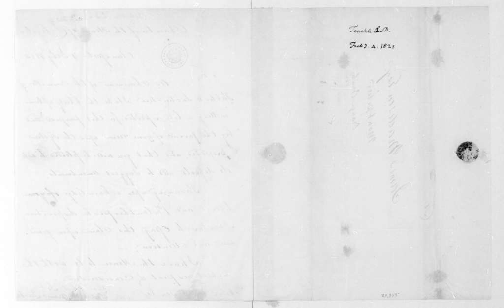 Littleton Dennis Teackle to James Madison, February 4, 1823.