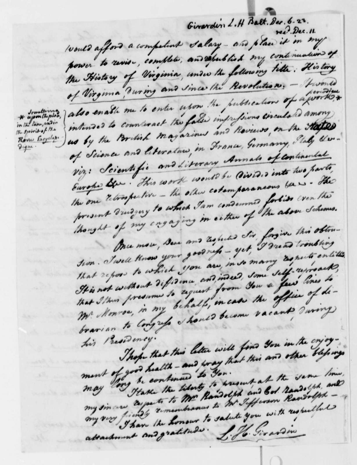 Louis H. Girardin to Thomas Jefferson, December 6, 1823