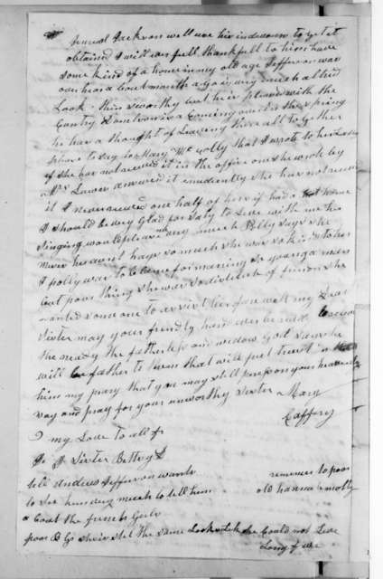 Mary Donelson Caffery to Rachel Donelson Jackson, August 13, 1823