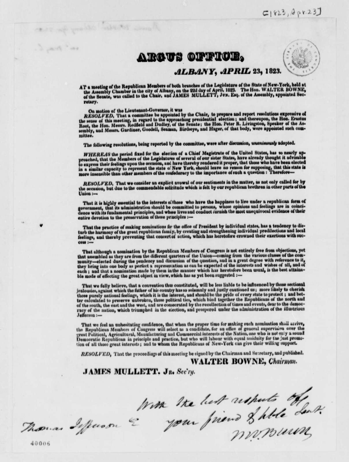 New York Legislature Republicans, April 23, 1823, Printed Resolution