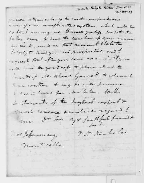 Philip N. Nicholas to Thomas Jefferson, March 15, 1823