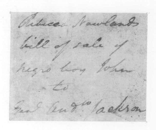 Rebecca Nowland to Andrew Jackson, February 8, 1823