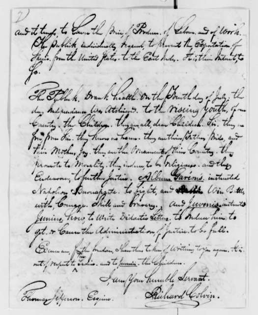 Richard Colvin to Thomas Jefferson, December 29, 1823