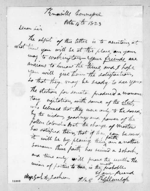 Richard Gilliam Dunlap to Andrew Jackson, October 16, 1823