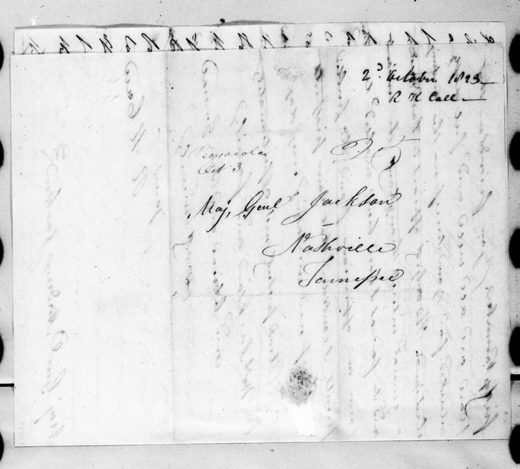 Richard Keith Call to Andrew Jackson, October 2, 1823