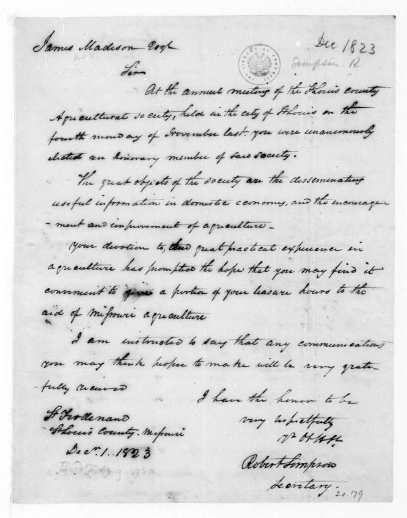 Robert Simpson to James Madison, December 1, 1823. St. Louis County Missouri Agricultural Society.
