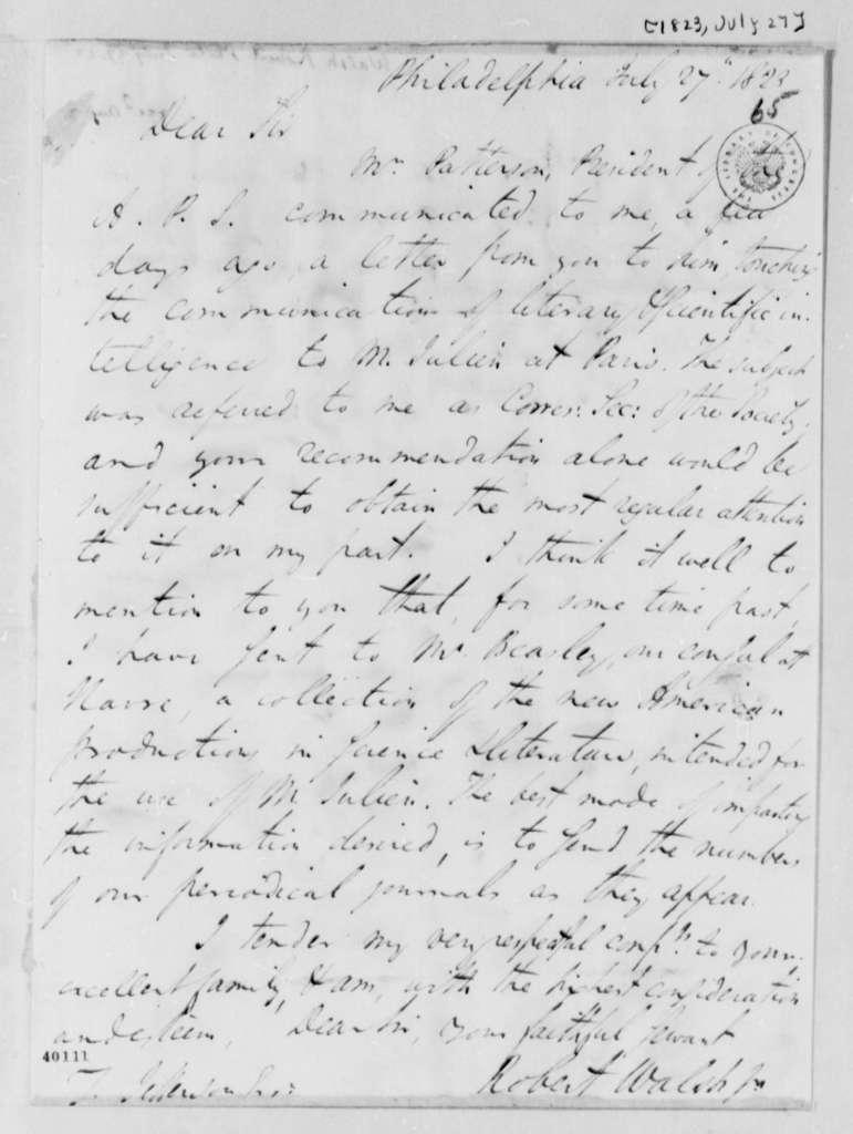 Robert Walsh, Jr. to Thomas Jefferson, July 27, 1823
