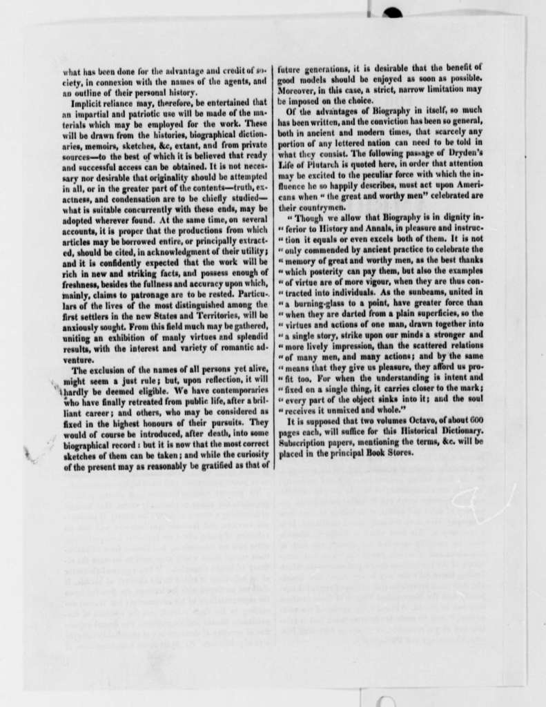 Robert Walsh, Jr. to Thomas Jefferson, March 18, 1823, with Prospectus for Publishing American Biography