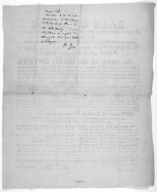 Sale of lands in the counties of Oxford and Washington in Maine. To be sold at Public auction, by order of the Judge of Probate for the County of Oxford, so much of the real estate of John Phillips, ... as will produce the sum of six thousand th