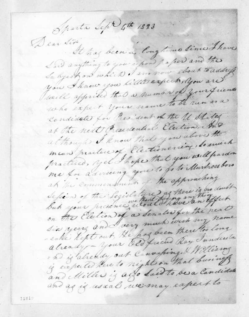 Sampson Williams to Andrew Jackson, September 4, 1823
