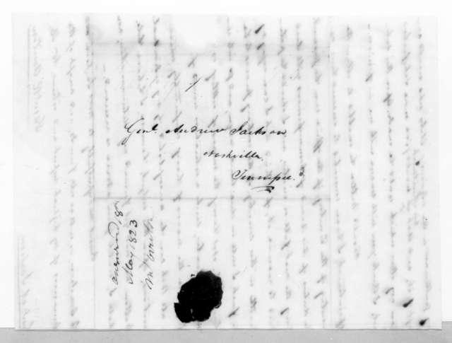 Samuel Ragland Overton to Andrew Jackson, April 15, 1823