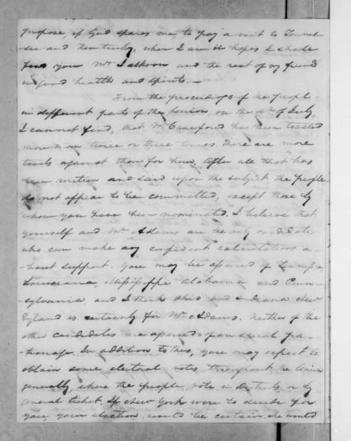 Samuel Ragland Overton to Andrew Jackson, August 15, 1823