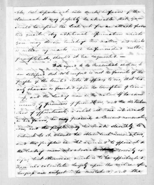 Samuel Ragland Overton to Andrew Jackson, August 26, 1823