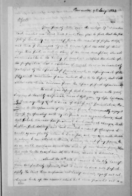 Samuel Ragland Overton to Andrew Jackson, January 9, 1823