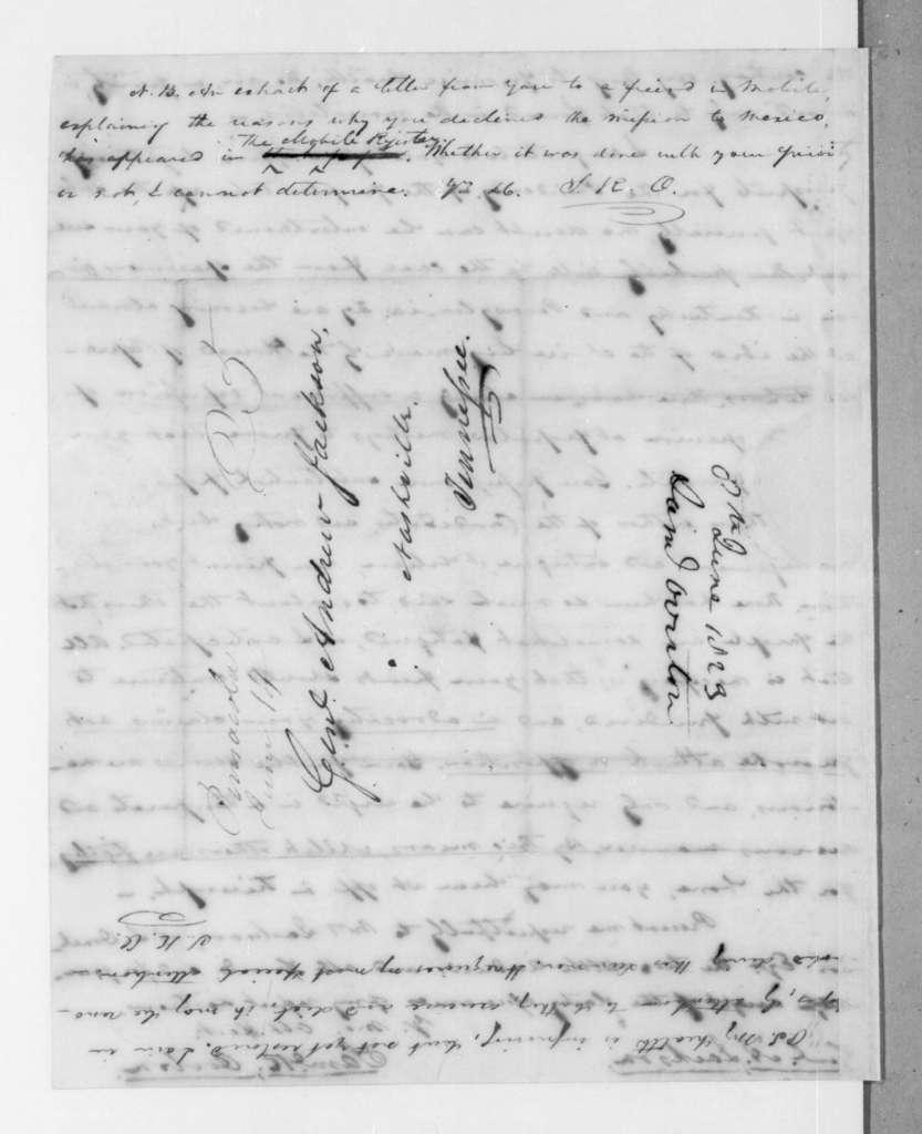 Samuel Ragland Overton to Andrew Jackson, June 8, 1823