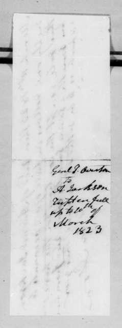 Samuel Ragland Overton to Andrew Jackson, March 10, 1823