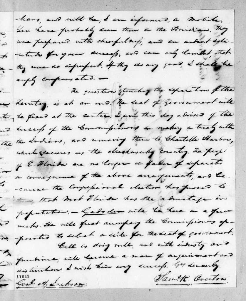 Samuel Ragland Overton to Andrew Jackson, October 1, 1823