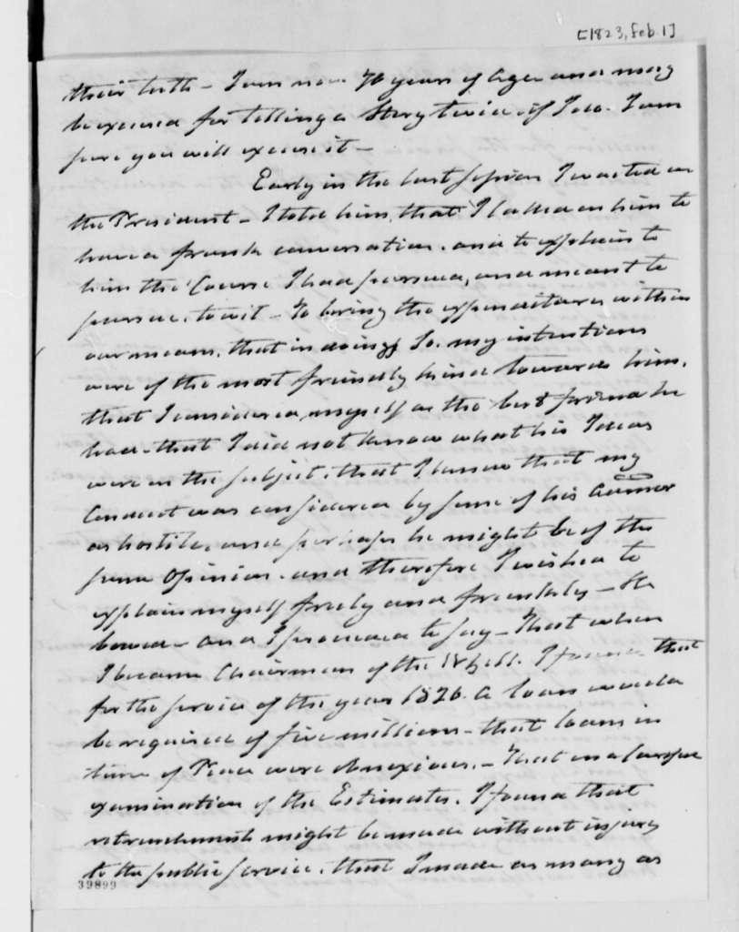 Samuel Smith to Thomas Jefferson, February 1, 1823