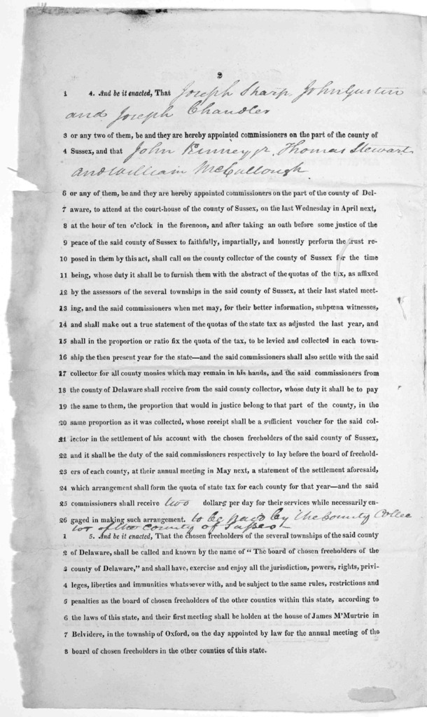 State of New Jersey. An act for erecting the lower part of the county of Sussex in New Jersey, into a separate county, to be called the county of Delaware. [1823?].