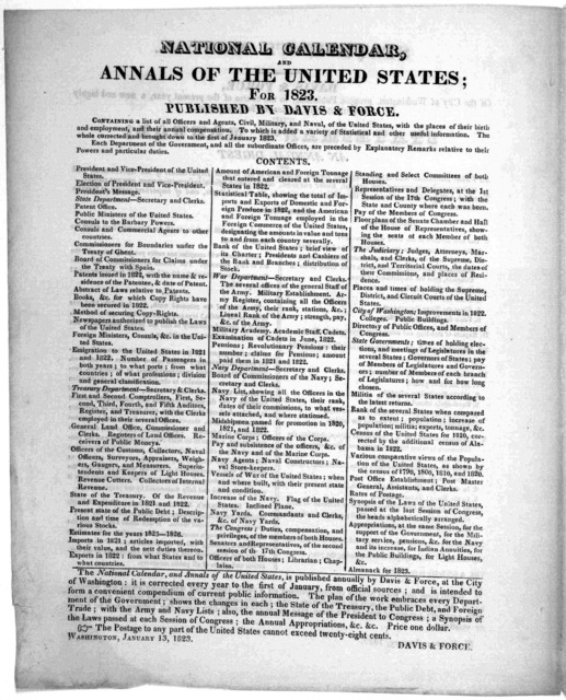 Statesman's manual. Davis & Force of the City of Washington, propose publishing, in the course of the present year, a new and highly important work, under the following title: the Stateman's manual. Being an annual digest of all public documents