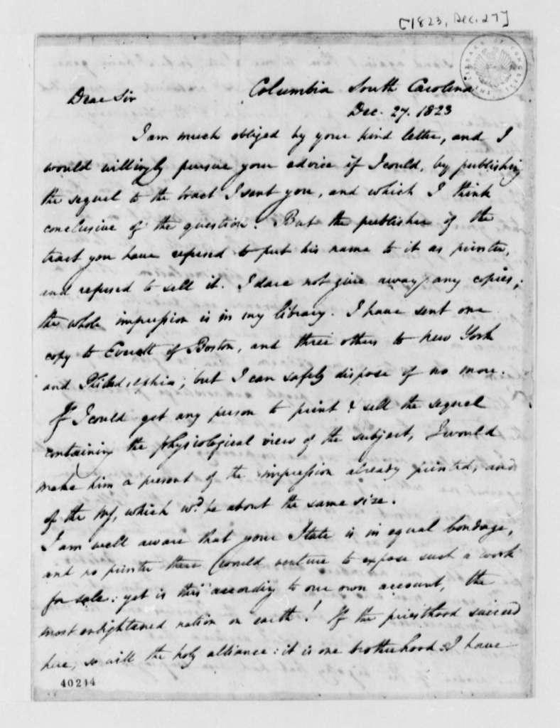 Thomas Cooper to Thomas Jefferson, December 27, 1823