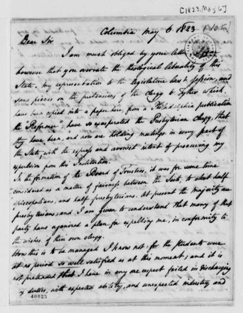 Thomas Cooper to Thomas Jefferson, May 6, 1823