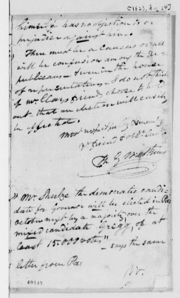 Thomas G. Watkins to Thomas Jefferson, August 24, 1823