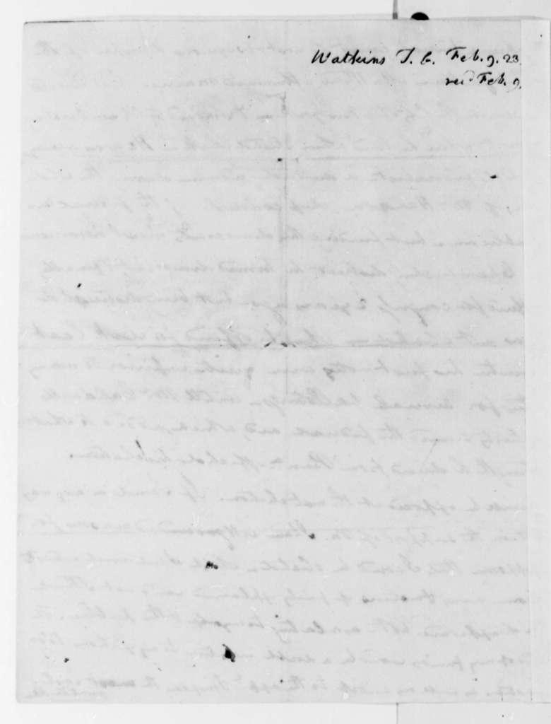 Thomas G. Watkins to Thomas Jefferson, February 9, 1823