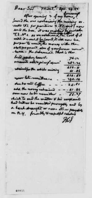 Thomas Jefferson to Arthur S. Brockenbrough, April 29, 1823