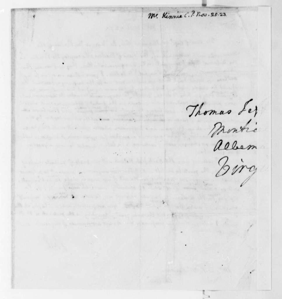 Thomas Jefferson to C. P. McKennie, November 25, 1823