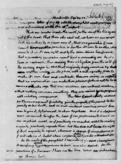Thomas Jefferson to Elias Earle, September 24, 1823