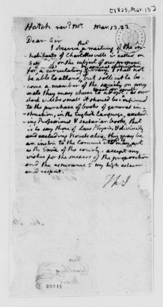 Thomas Jefferson to F. W. Hatch, March 13, 1823