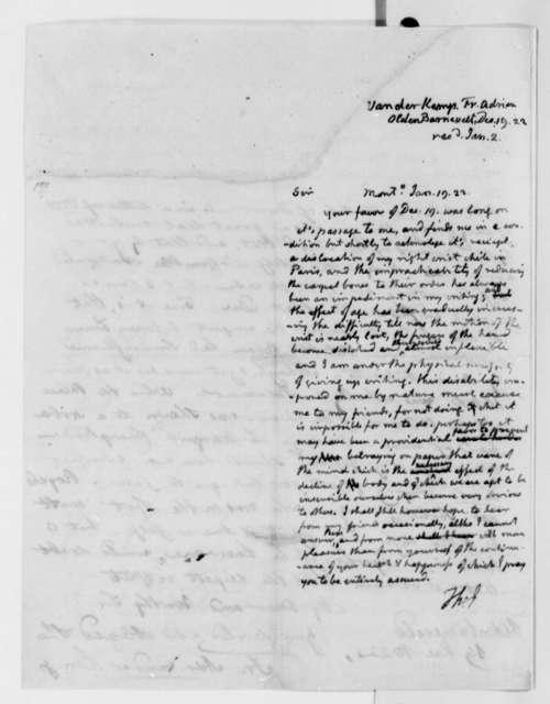 Thomas Jefferson to Francis A. van der Kemp, January 19, 1823