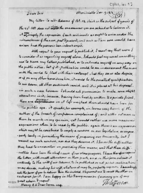 Thomas Jefferson to Henry A. S. Dearborn, December 9, 1823
