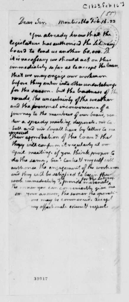 Thomas Jefferson to James Breckinridge and James Madison, February 16, 1823