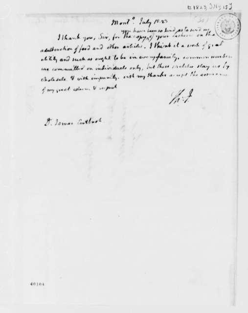 Thomas Jefferson to James Cutbush, July 15, 1823