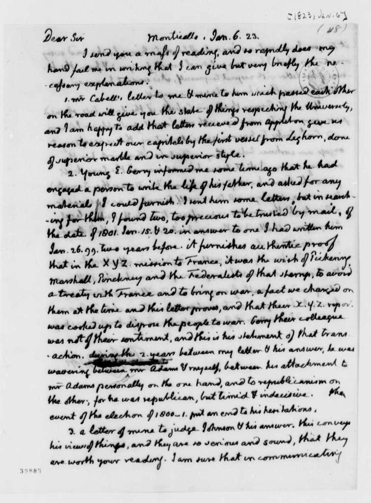Thomas Jefferson to James Madison, January 6, 1823, with Draft