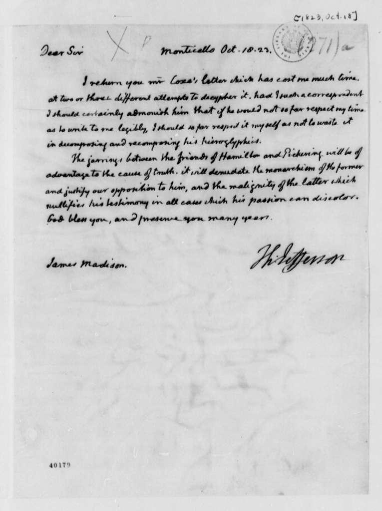 Thomas Jefferson to James Madison, October 18, 1823