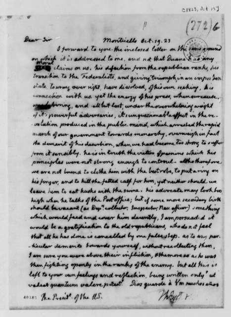 Thomas Jefferson to James Monroe, October 19, 1823